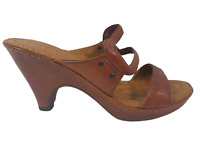 Born Crown Women's Brown Leather Strappy Heel Sandals Size 6 36.5