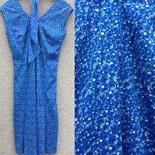 TRUE VINTAGE 70's GIOVANNOZZI BLUE BUBBLE KITSCH PRINT SLINKY DRESS ITALIAN 8 10