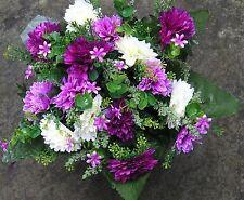 QUALITY ARTIFICIAL FLOWER ARRANGEMENT IN A GRAVE /  MEMORIAL VASE / CREM  POT