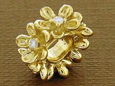 Bd092 GENUINE 9K 9ct Solid Gold Natural Diamond Blossom Garland Bead Charm