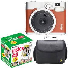 Fuji Instax Mini 90 neo clásica cámara de películas instantáneas Marrón +50 disparos película + Estuche