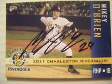 MIKEY O'BRIEN signed YANKEES 2011 CHARLESTON baseball card AUTO ROANOKE VA REDS