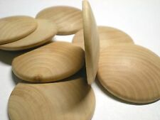 """Two Inch Wood Dome Top Disc PACK of 10 SIZE 2"""" Diameter Flat Bottom-Domed Top"""