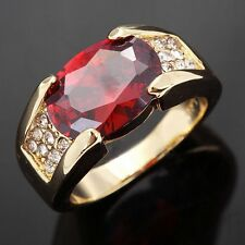 Band Size 10 Princess Cut Garnet Fashion 18K Gold Filled Mens Engagement Ringss