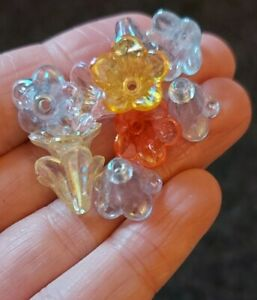 Pack of 40 Transparent Acrylic Bead Caps Trumpet Flower 10x14x13mm Mixed Colour