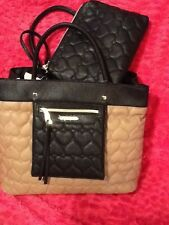 BETSEY JOHNSON  BAG In BAG PURSE LARGE TOTE  SPICE BLACK QUILTED