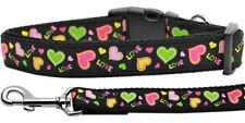 Mirage Neon Love Nylon Dog Collars and Leash Combo