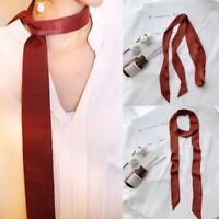 European Small Simple Skinny Luxury Street Scarves Silk Scarf Ribbons Wraps