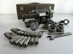 WELDON MODEL S RELIEVING GRINDING FIXTURE LOADED W/ CAMS AND COLLETS + CASE
