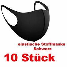 10 x Maske elastische Stoffmaske 3 D Mund Nase Maske Waschbar Elasthan schwarz