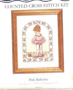 "DMC Pink Ballerina Counted Cross Stitch Kit K4030 7"" x 5"" NEW! Girl Tutu Roses"