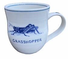 Anthropologie Mug MOLLY HATCH Icon GRASSHOPPER Bug Stoneware Cup Ivory Blue NICE