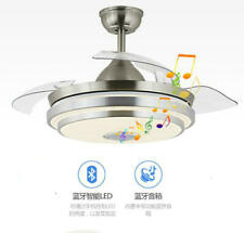 """42""""Bluetooth Invisible Fan LED Lamp Ceiling Light Music Player Chandelier+Remote"""