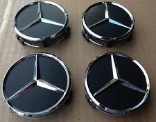 4X  for mercedes² benz² BLACK CENTER WHEEL HUB CAPS 75MM COVER CHROME EMBLEM CAP