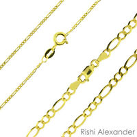 Genuine REAL 10K GOLD Mens Women Light Figaro Link Chain Necklaces or Bracelets