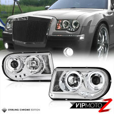 2005-2010 Chrysler 300C SHINY CHROME Dual Angel Eye LED DRL Projector Headlights