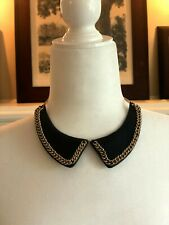 Leather and gold chain Split Collar Necklace - 1990's