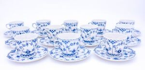 12 Cups & Saucers #1035 - Blue Fluted Royal Copenhagen Full Lace - 2nd Quality