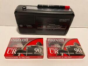 Vintage 80's General Electric Cassette Tape Recorder Model 3-5301B; Tested/Works