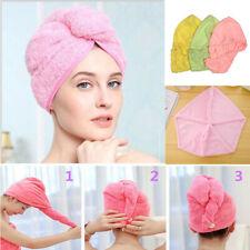 Button Hair Cap Loop Bath Drying Quick Wrap Towel Hat Turbie Twist