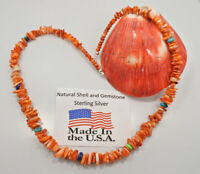 Navajo Sterling Silver Orange Spiny Oyster Necklace Beads