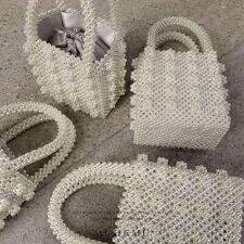 Women Lady Pearl Handbag Handmade Beaded Evening Tote Clutch Travel Bag