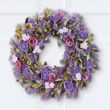 Springtime Natural Wood Lavender Rose Ivory Floral Wall Door Wreath