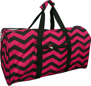 "22"" Women's Chevron Print Gym Dance Cheer Travel Carry On Duffel Bag - Burgundy"