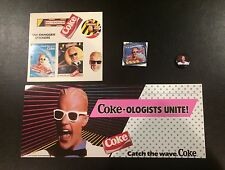 Coca Cola 1987 Max Headroom Stickers Promotional Coke Topper 2 Pins For Wearing