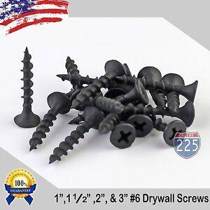 "#6 Black Drywall Coarse Thread Screws (1"", 1 1/2"", 2"", 3"") Phillips Bugle-Head"