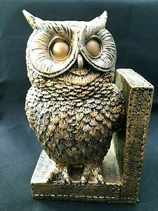 23cm Gold/Black Owl Bookend Heavy Weight Free Next Day Delivery