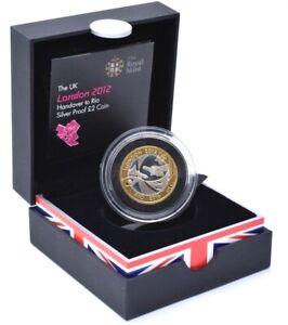 2012 Silver Proof £2 Coin London Olympics 2008 Handover Rio BOX + COA Royal Mint