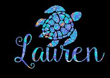 Blue Floral Pattern Turtle with Custom Name for 20oz or 30oz Insulated Cup