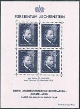 Liechtenstein 1938 Michel Block 3 MNH