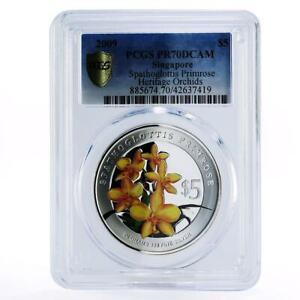 Singapore 5 dollars Flowers Spathoglottis Primrose PR70 PCGS silver coin 2009