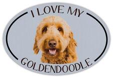 Oval Dog Breed Picture Car Magnet - I Love My Goldendoodle (Golden Doodle)