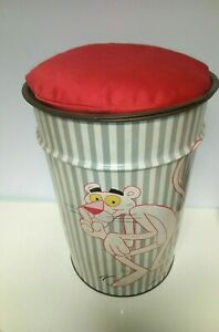 Vintage PINK PANTHER pouffe chair TIN BIN rare collectible