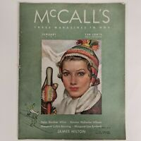 Vintage McCalls Magazine January 1937 Issue McMein Skiing Cover James Hilton