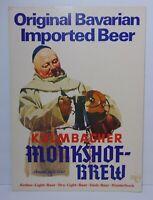 "16"" Vintage 1960s Kulmbacher Monkshof Brew German Bavarian Beer Advertising Sign"