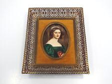 Antique German Porcelain Mini Portrait Lady w Bible Hans Frey Handarbeit Munchen