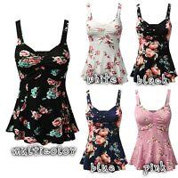 US Stock PLUS SIZE Women Summer Floral Print Sleeveless Vest Tops Blouse T-Shirt