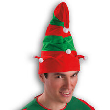 Bonnet de lutin vert et rouge en velours et petit pompons [5687] reveillon noel
