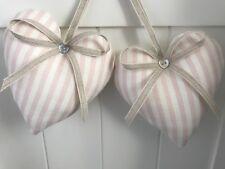 2 Peony and Sage Heart Door Hangers Eva Stripe Pink  Linen Fabric