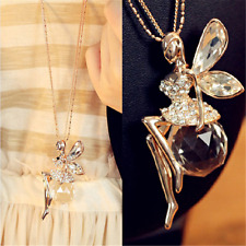Charm Women Crystal Fairy Angel Wing Pendant Long Chain Sweater Necklace Gift JT