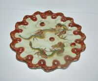 Unusual Antique Japanese Kutani Porcelain Plate with Dragons 557