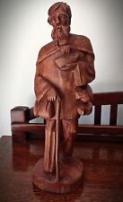 Vintage Hand Carved Barefoot Man with Walking Stick - Height 17""