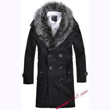 Men's Double Breasted Winter Woolen Jacket Fur Collar Trench coat Warm Slim fit