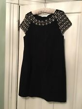 VINTAGE TRACY REESE New York black wool Sheath with embellishment  Dress Size L