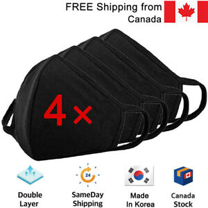 [4-PACK] 3D Layers Cotton Washable Reusable Face Mask/ Fast FREE SHIPPING Canada