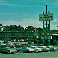 Vintage 1950s San Clemente Inn Resort Hotel Postcard Los Angeles San Diego Cars